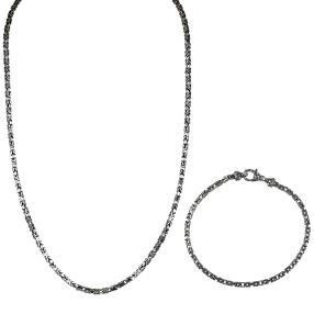 Set 2-teilig Königsdesign 925 Silber, ca. 50+20cm