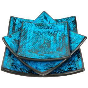 Darimana Mosaikschalen 3er viereckig blau-schwarz