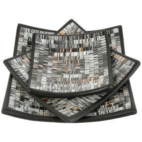 Darimana Mosaikschalen 3er viereckig schwarz-weiß