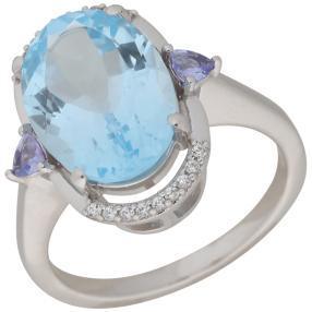 Ring 925 Sterling Silber Blautopas, Tansanit