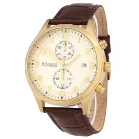 Rivado Herren-Chronograph, IP Gelbgold, Lederband