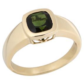 STAR Ring 585 Gelbgold AAA Turmalin grün