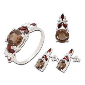 Ring, Anhänger, Ohrstecker Topas, Granat