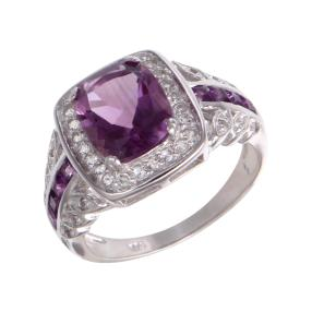 Ring 925 Sterling Silber, Amethyst, Weißtopas
