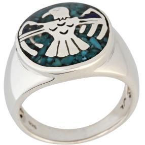 Ring 925 Sterling Silber Adler Türkis stab.