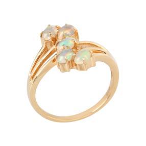 Ring 925 Silber vergoldet, Äthiopische Opale