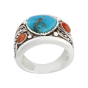 Ring 925 Sterling Silber, Türkis stab. Koralle