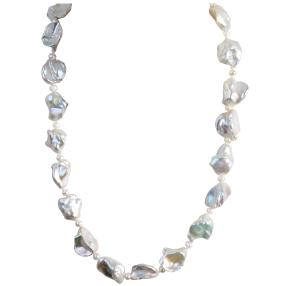 Collier Süßwasserzucht-Keshi-Perle 925 St Silber