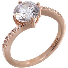Ring 925 Sterling Silber rosevergoldet, Zirkonia