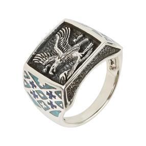 Ring 925 Sterling Silber, Adler, Türkis stabil.