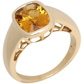 STAR Ring 585 Gelbgold Gelber AAABeryll