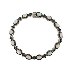Armband 925 St. Silber Äthiopischer Opal, Spinell
