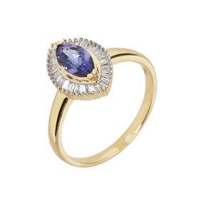 Ring 750 Gelbgold AAATansanit Diamanten