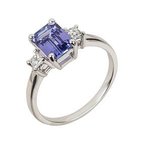 Ring 750 Weißgold AAATansanit Diamanten