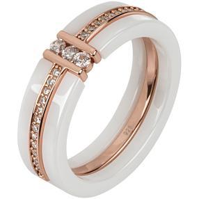 Ring 925 St. Silber rosévergoldet Keramik Zirkonia