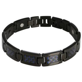 Titanarmband ca. 22 cm, schwarz/blau, mit Magneten