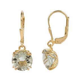 Ohrhänger 925 Silber, vergoldet, Prasiolith