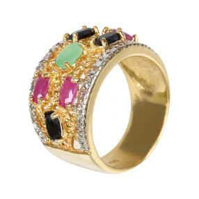 Ring 925 Sterling Silber vergoldet Rubin
