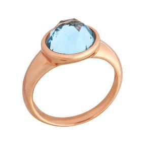 Ring Bronze rosévergoldet Blautopas behandelt