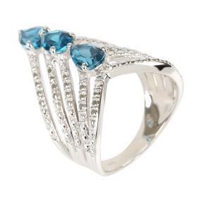 Ring 925 Silber, London Blue Topas behandelt