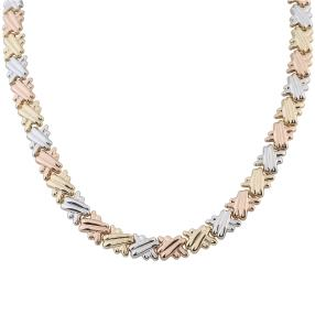 Collier 585 tricolor Gelbgold Weißgold Rotgold