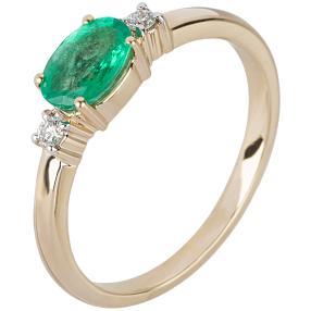 STAR Ring 750 Gelbgold Russischer Smaragd