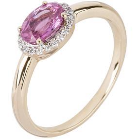 STAR Ring 750 Gelbgold Pink Saphir
