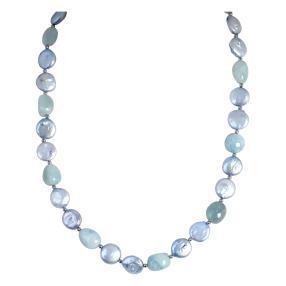 Collier Aquamarin, SWZPerle blau