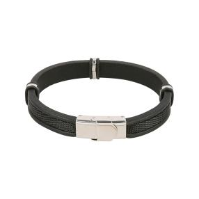Armband Leder/Edelstahl, unisex