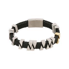 Armband Leder/Edelstahl, mit Steckverschluss