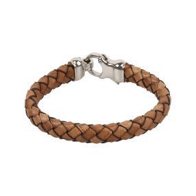 Armband Leder/Edelstahl, braun-silbern