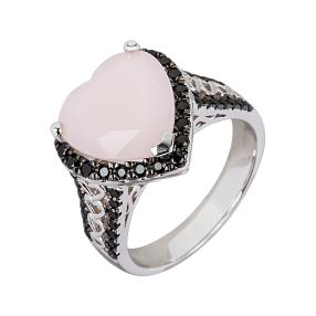 Herzring 925 Sterling Silber pink Opal