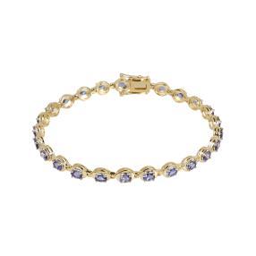 Armband 925 St. Silber vergoldet Tansanit