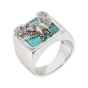 Ring 925 Sterling Silber Adler Türkis stabilisiert