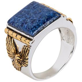 Ring 925 Sterling Silber Adler Lapis bicolor