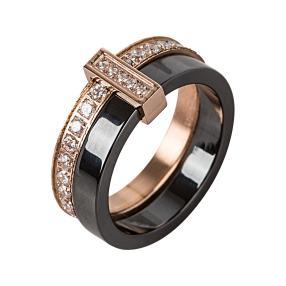 Ring Keramik Edelstahl rosévergoldet Zirkonia