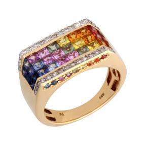 Ring 585 Gelbgold, Saphir, Brillanten