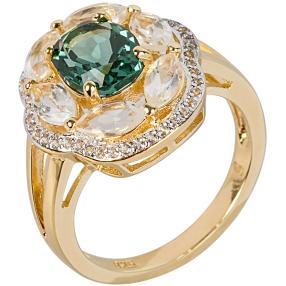 Ring 925 Sterling Silber vergoldet Quarz grün