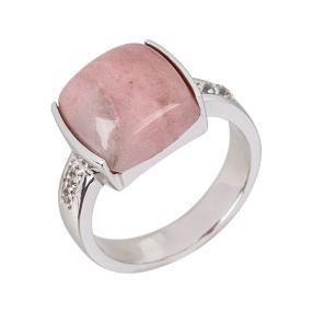 Ring 925 Sterling Silber Rhodonit, Weißtopas