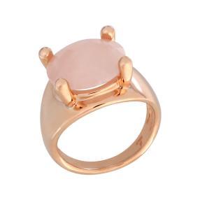Ring Bronze rosévergoldet Rosenquarz