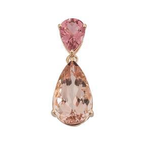 Anhänger 585 Rosegold Morganit, pink Turmalin