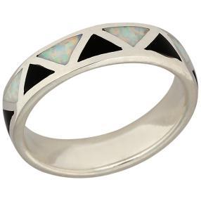 Ring 925 Sterling Silber Opal Doublette, Onyx