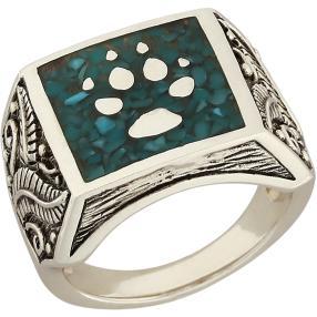 Ring 925 Sterling Silber Türkis stabilisiert Wolf