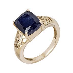 Ring 375 Gelbgold, Saphir behandelt
