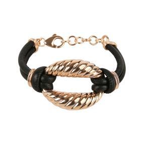 Armband Bronze/Leder rosevergoldet