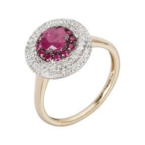 Ring 585 Gelbgold/Weißgold, Rubin & Diamanten