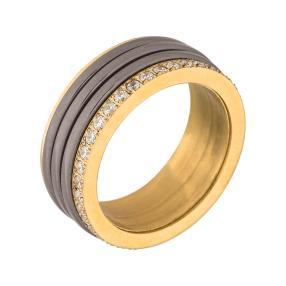 Ring Edelstahl vergoldet, Keramik, Zirkonia