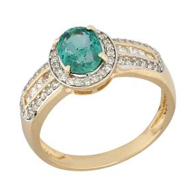 Ring 585 Gelbgold, Sambia Smaragd & Diamanten