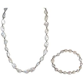 SET Collier, Armband Keshi Perlen, Hämatit