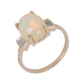 Ring 375 Gelbgold Äthiopischer Opal, Diamanten